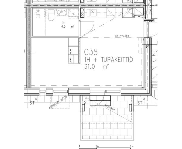 Pohjapiirros 1H + tupakeittiö 31 m2