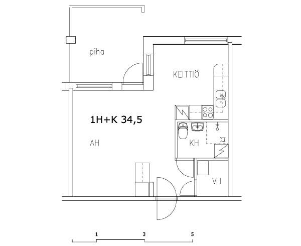 1 rm + kitchen 34.5 m2