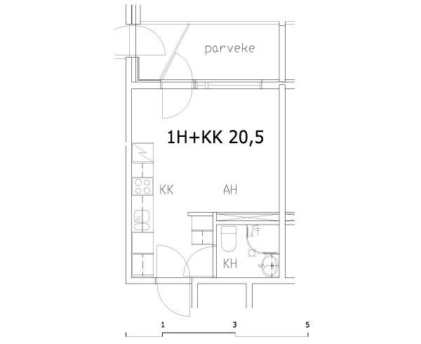 1 rm + kitchenette 20.5 m2