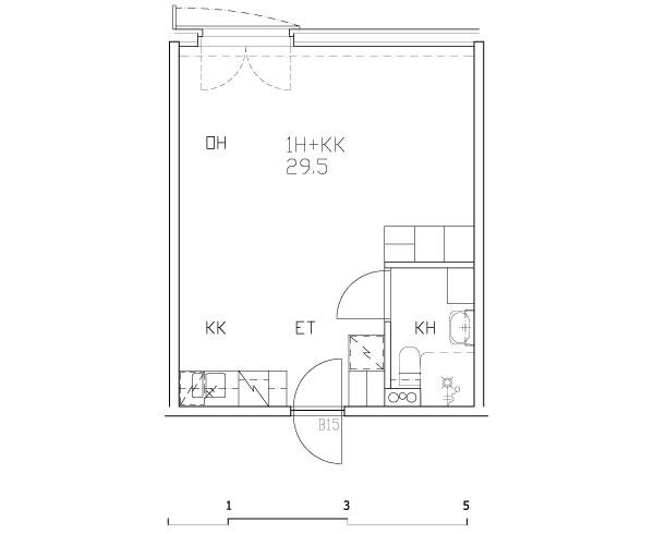1 rm + kitchenette 29.5 m2