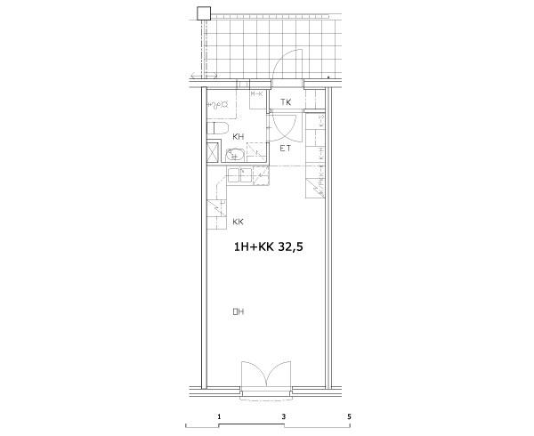 1 rm + kitchenette 32.5 m2