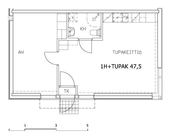 1 rm + kitchen-living rm 47.5 m2