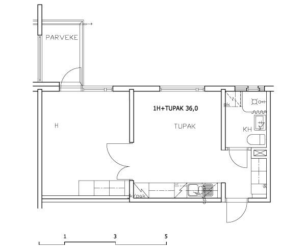1 rm + kitchen-living rm 36 m2