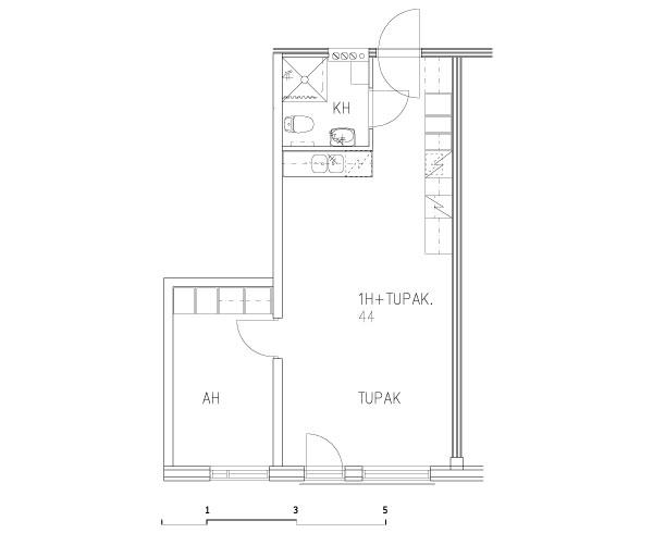 1 rm + kitchen-living rm 44 m2