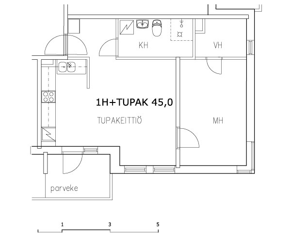 1 rm + kitchen-living rm 45 m2