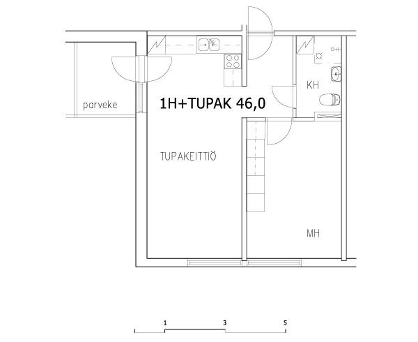 1 rm + kitchen-living rm 46 m2