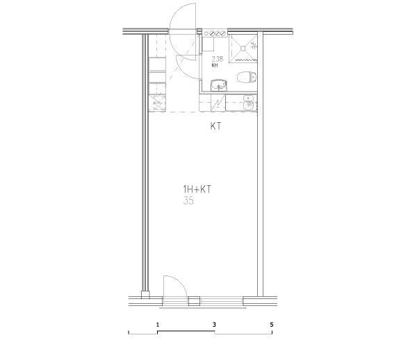 1 rm + minikitchen 35 m2