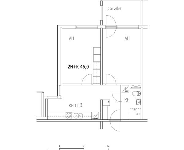 2 rms + kitchen 46 m2