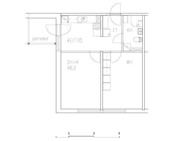 2 rms + kitchenette 46 m2