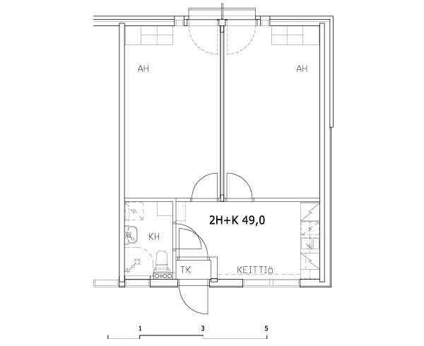 2 rms + kitchen 49 m2 (shared)