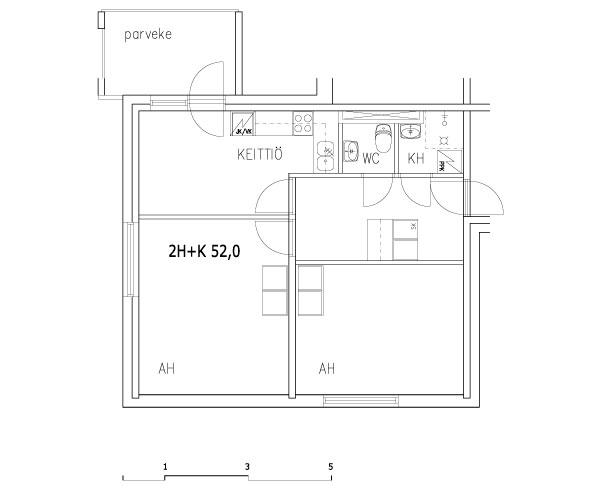 2 rms + kitchen 52 m2