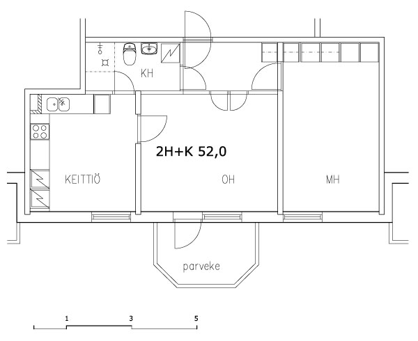 2 rms + kitchen 52 m2