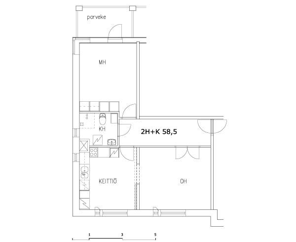 2 rms + kitchen 58.5 m2