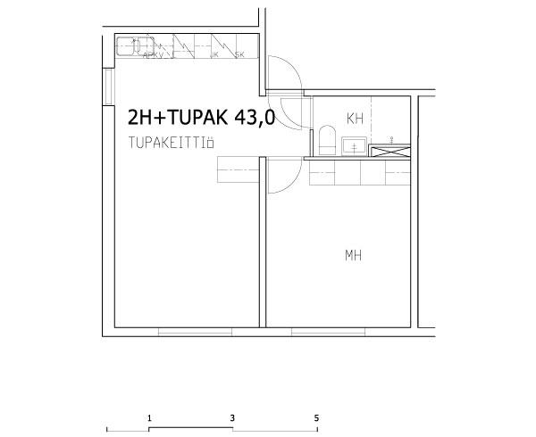 1 rm + kitchen-living rm 43 m2