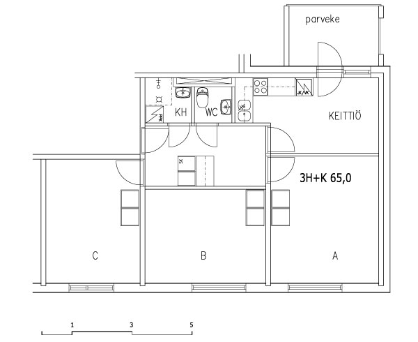 3 rms + kitchen 65 m2 (shared flat)