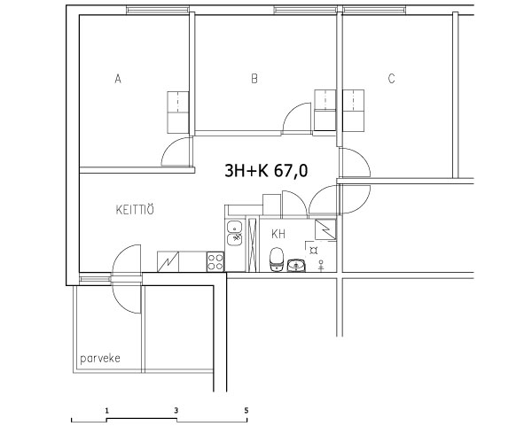 3 rms + kitchen 67 m2 (shared flat)
