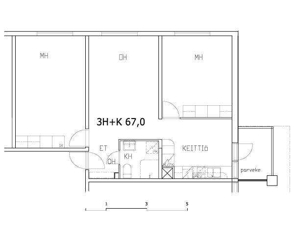 3 rms + kitchen 67 m2