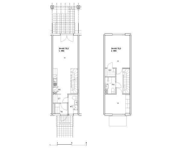 3 rms + kitchenette 70 m2