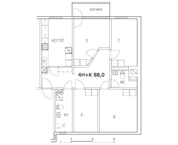 4 rms + kitchen 88 m2 (shared flat)