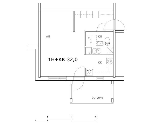 Esimerkkejä asuntojen pohjapiirustuksista - 1h+kk 32,0 m2