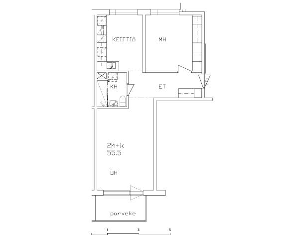 Esimerkkejä asuntojen pohjapiirustuksista - 2h+k 55,5m2