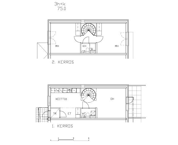 Esimerkkejä asuntojen pohjapiirustuksista - 3h+k+s 72,5m2
