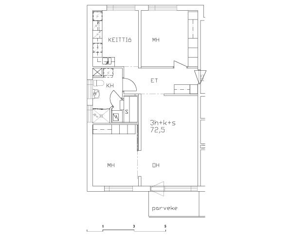 Esimerkkejä asuntojen pohjapiirustuksista - 3h+k 75,0 m2