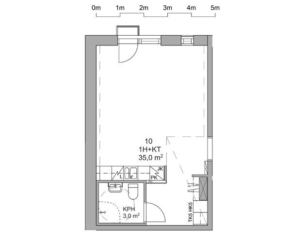 Yksiön pohjapiirros 35,0 m2