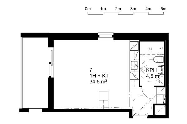 Suvikuja 8 -pohjapiirros 34,5m2